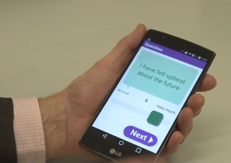 Screencap from video study: mobile phone asking for response to question 'I have felt upbeat about the future'