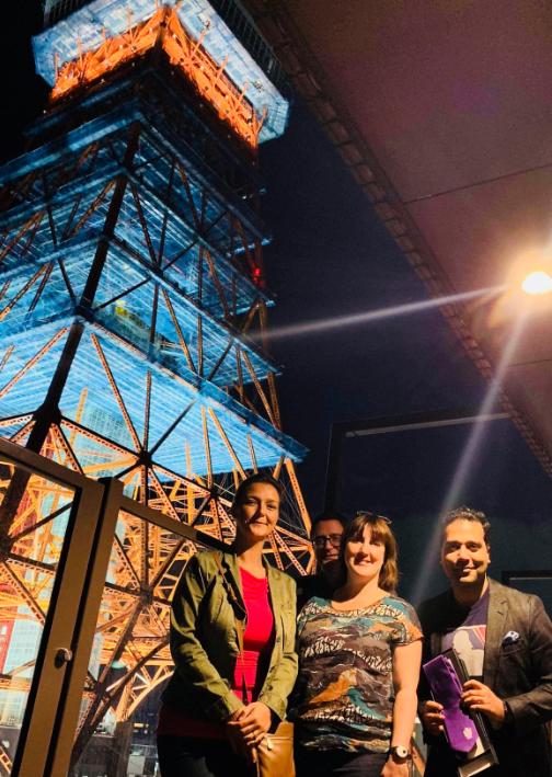 Amanda Lamb, Ruth Norris, Gary Leeming and Kei Kumar next to the Tokyo Tower